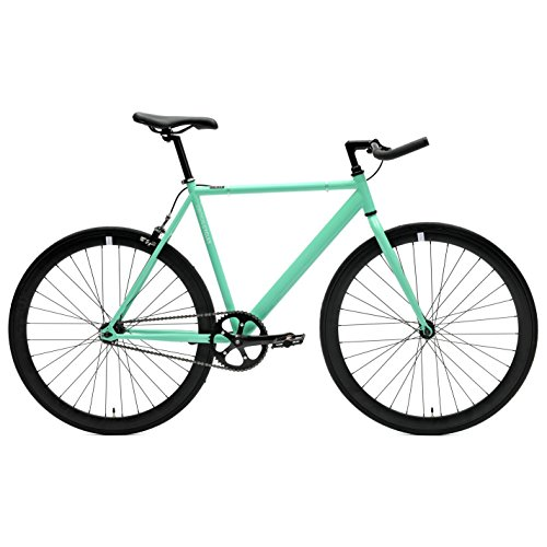 Critical Cycles Classic Fixed-Gear Single-Speed Bike with Pursuit Bullhorn Bars, 49cm/Small, Celeste