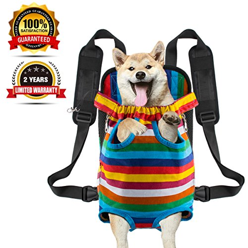 Legs tail out Dog Carrier Travel Pet Bag Backpack Front-facing Sturdy Comfortable Easy-Fit for T ...