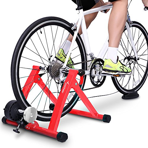 Sportneer Steel Bike Bicycle Exercise Trainer Stand with Noise Reduction Wheel (Red)