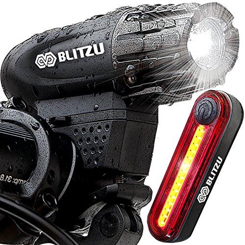 Blitzu Gator 320 PRO USB Rechargeable Bike Light Set POWERFUL Lumens Bicycle Headlight FREE TAIL ...