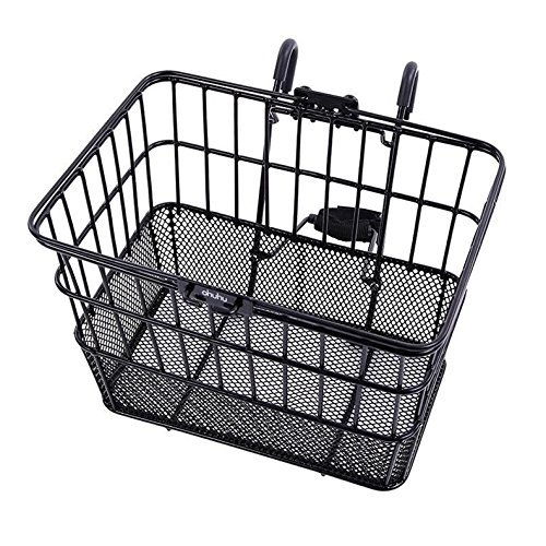 Ohuhu Rust-Proof Quick Release Front Handlebar Bicycle Lift Off Basket / Wire Mesh Bike Basket w ...