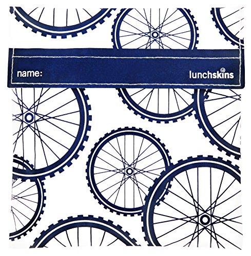 Lunchskins Reusable Velcro Sandwich Bag, Navy Blue Bike