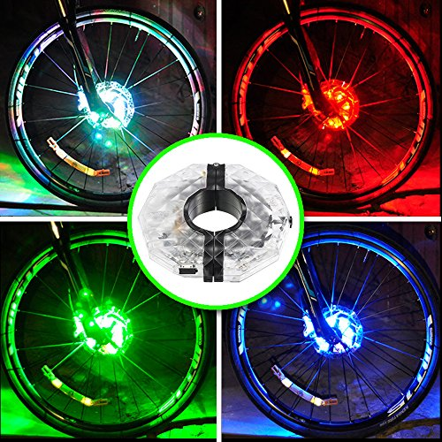 Rechargeable Bike Wheel Hub Lights, Alritz Waterproof 3 Modes LED Cycling Lights, RGB Colorful B ...