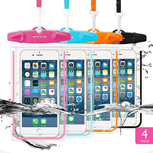 4 Pack Universal Waterproof Case FITFORT Cell Phone Dry Bag/ Pouch for iPhone X 8 7 6 6S Plus/5/ ...