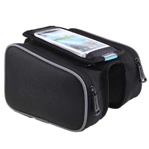 Roswheel Waterproof Cycling Bags Bike Front Frame Bag Tube Pannier Double Pouch for 5.5 inch Cel ...