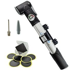 Lumintrail Mini Bike Pump with Gauge and Glueless Puncture Repair Kit w/ Presta & Schrader D ...