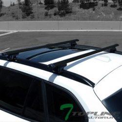 Topline Autopart 50″ Black Oval Adjustable Roof Rail Rack Cross Bars Cargo Luggage Carrier ...