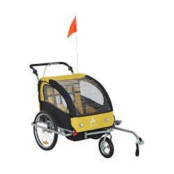 Aosom Elite II 3in1 Double Child Bike Trailer, Stroller & Jogger – Yellow