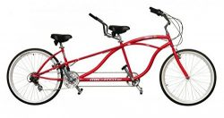 J Bikes by Micargi Island 26″ 18-Speed 2-Seater Tandem Bicycle Beach Cruiser Bike – Red