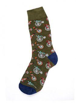 Twill & Tweed Vintage Gentlemen Novelty Print Socks (Unicycle – Olive, 1)