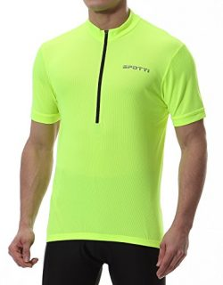 Spotti Basics Men's Short Sleeve Cycling Jersey – Bike Biking Shirt (Hi-Viz Yellow,  ...
