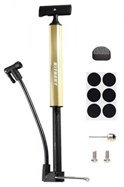 Bike Pump, Kitbest Aluminum Alloy Portable Bike Floor Pump, Mountain, Road, Hybrid & BMX Bik ...