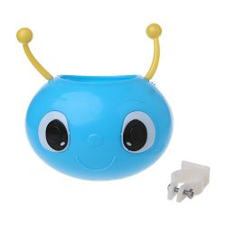ULKEMEBicycle Basket Children Bike Plastic Cute Worm Front Handlebar Carrier Bag Rack (sky blue)