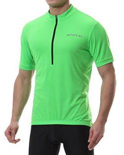 Spotti Basics Men's Short Sleeve Cycling Jersey – Bike Biking Shirt (Green, Chest 40 ...