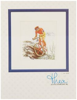 Thea Gouverneur 18 Count Counted Cross Stitch Kit, 6-1/4 by 6-3/4-Inch, Mountain Bike on Aida