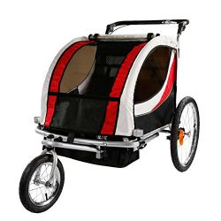 Clevr Deluxe 2 Child Bicycle Trailer Baby Bike Kid Jogger Red Running Carrier