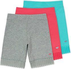 Lucky & Me Jada Little Girls Bike Shorts, Tagless, Soft Cotton, Lace Trim, Underwear, Reef 3 ...