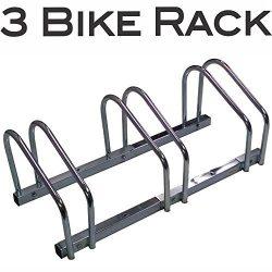 EasyGo Floor Stationary Triple Bike Wheel Rack, Indoor – Outdoor Bike Stand
