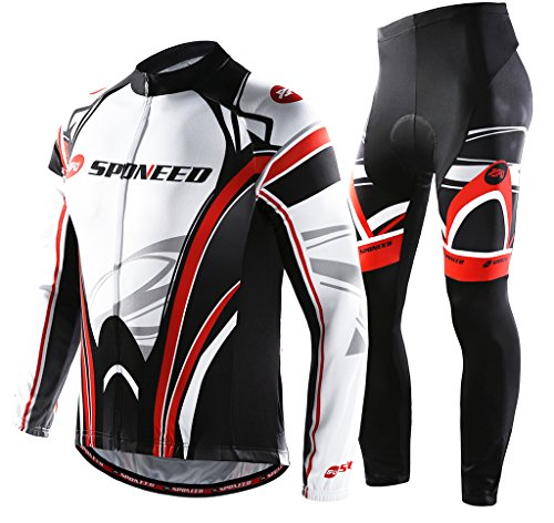 Sponeed Men's Bicycle Jersey Polyester Set Pants Cycle Jacket Long-sleeved Winter Cycling  ...