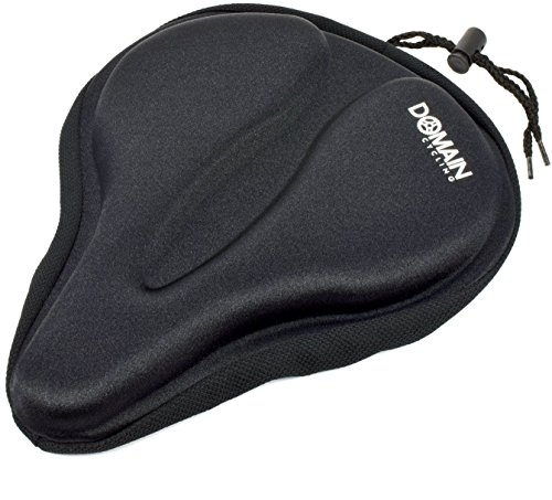 Large Bicycle Gel Seat Cover 11.5″x9.5″ Wide Thick Cushion for Exercise Bikes – ...