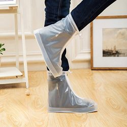 ArunnersTM 100% Waterproof Bike Shoes Covers Reusable Rain Snow Overshoes Travel Women Men(L,White)