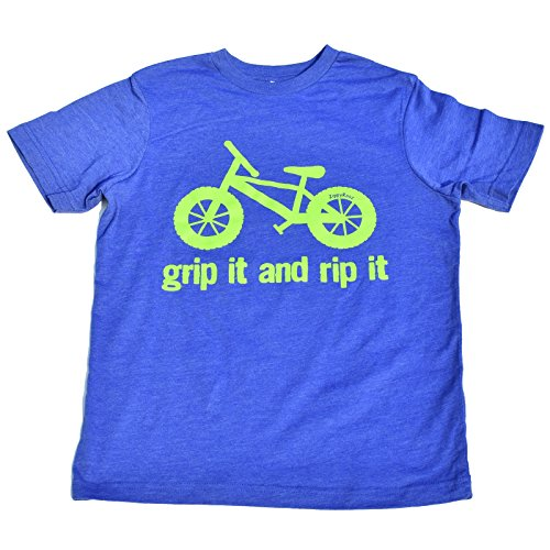 ZippyRooz Kids Fat Tire BMX Bike Tee Shirt Grip It and Rip It! For Youth Boys (S (6-8))