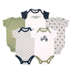 Hudson Baby Cotton Bodysuit, 5 Pack, Dirt Bike, 6-9 Months