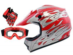 TMS Youth Kids Red Flame Dirt Bike ATV Motocross Helmet with Goggles and Gloves (Small)