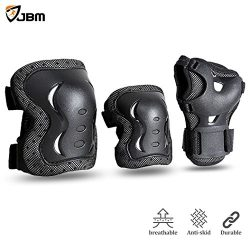 JBM Children & Adults Cycling Roller Skating Knee Elbow Wrist Protective Pads–Black /  ...