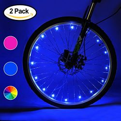 Accmor 2 Pack LED Bike Wheel Lights, Safety Waterproof 3AA Battery Operated Spoke Lights(Blue/Pi ...