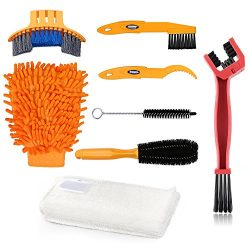 Bike Clean Brush Kit, Oumers 8pcs Motorcycle Bicycle Cleaning Tools Make Chain/Tire/Sprocket/Cra ...