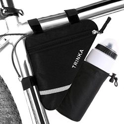 MOOCY Ultralight Reflective Bicycle Triangle Frame Bike Bag with Water Bottle Pouch -Black