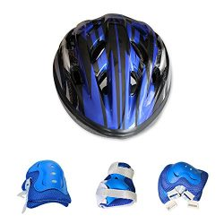 Kids Bicycle Helmet Knee-Pad Elbow Wrist Protection Gear for Bicycle and Skateboard (Blue) for K ...