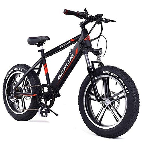 Goplus 20″ Electric Mountain Bike Bicycle E-bike Fat Tire Snow Beach Bike with Removable L ...