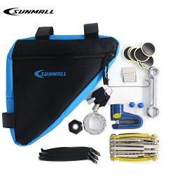 SUNMALL Upgrade bike Bicycle Maintenance Kit with waterproof bike bag,Bicycle Puncture Repair Ki ...