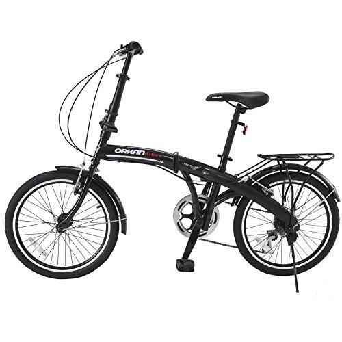 GTM 20″ 6 Speed Folding Bike Foldable Bicycle Shimano Hybrid, Black