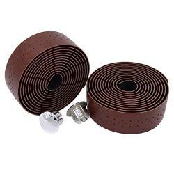 KINGOU Dark Brown Handlebar Tape Luxury PU Leather Bar Tape Fixed Gear/Road Bike Bar Wrap with 2 ...