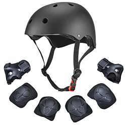 Dostar Kids Youth Adjustable 7Pcs Sports Protective Gear Set Safety Pad Safeguard (Helmet Knee E ...