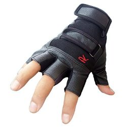ZLOLIA Women Winter Gloves Outdoor Sports Bike Bicycle Half Finger Leather Mittens (one size, Black)
