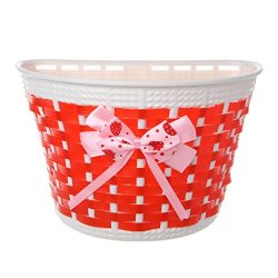 ULKEMEBicycle Scooter Basket Children Bike Plastic Knitted Bow Knot Front Handmade Bag (red)