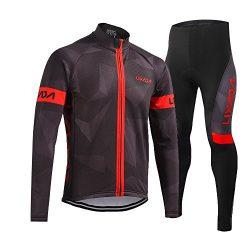 Men's Cycling Clothing Set, Lixada Long Sleeve Cycling Jersey Thermal Fleece Windproof Mou ...