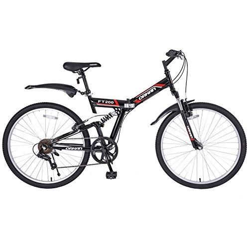 GTM 26″ Folding Mountain Bike 7 Speed Bicycle Shimano Hybrid, Black