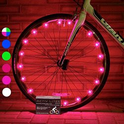 Super Cool Bike Wheel Lights (2 Tires, Pink) Top Valentines Presents & Birthday Gifts for Gi ...