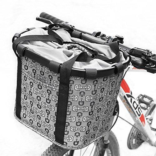 FEMOR Folding Bicycle Bike Basket, Front Detachable Handlebar Cycling Bag with Metal Frame and C ...