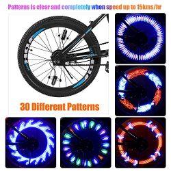 Bright LED Bike Wheel Lights – Spoke Lights Including Battery 30 Different Patterns Waterp ...