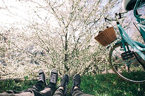 LAMINATED POSTER Feet Grass Nature Bike Footwear Bicycle Flowers Poster Print 24 x 36
