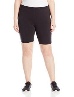 Just My Size Women's Plus-Size Stretch Jersey Bike Short, Black, 4X
