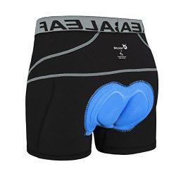 Baleaf Men's 3D Padded Bike Bicycle MTB Cycling Underwear Shorts (Grey, XL)