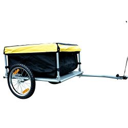 Tenive Bike Cargo Bicycle Cargo Luggage Trailer w/Removable Cover – Black / Yellow