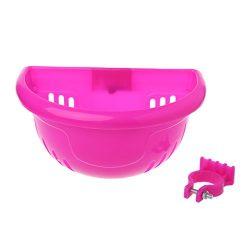ULKEMEBicycle Scooter Basket Children Kid Bike Plastic Front Handlebar Bag Accessories (pink)